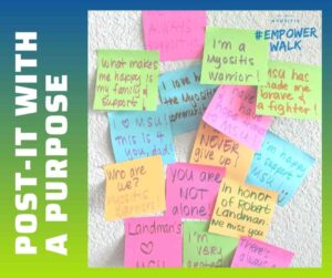 Poster Board Shout-Outs and Post-It with a Purpose messages of encouragement, positivity, and hope